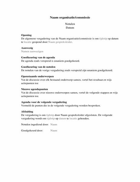 Notulen voor organisatievergadering (uitgebreid)