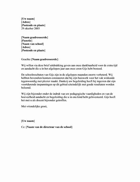 Bedankbrief aan docent voor begeleiding van kind (basis)