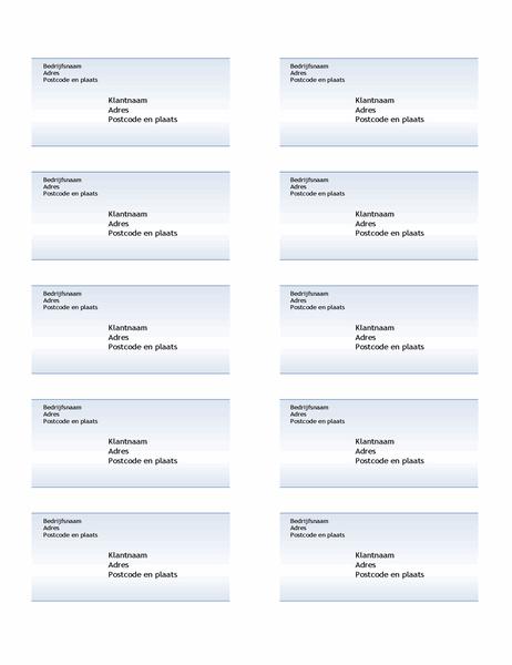 Verzendetiketten (ontwerp Blauwe kleurovergang, 10 per pagina)