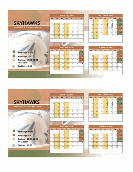 Pocketschema 2008 voor sporten (herfstmaanden)