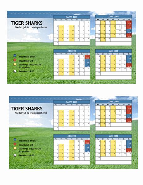 Pocketschema 2008 voor sporten (lentemaanden)