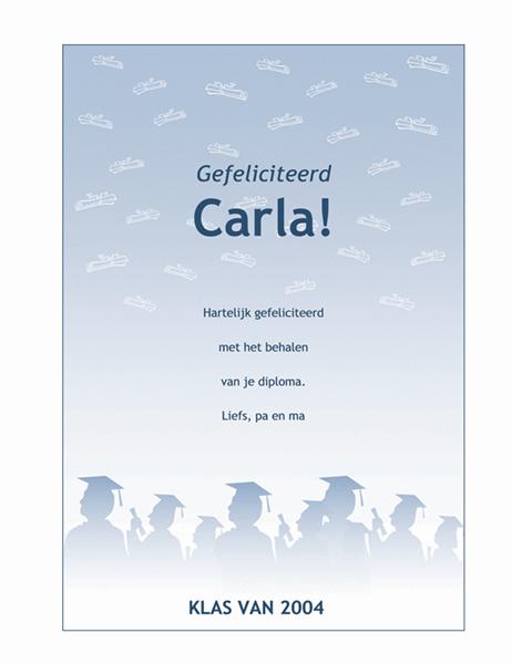 Pamflet met felicitaties voor afgestudeerde