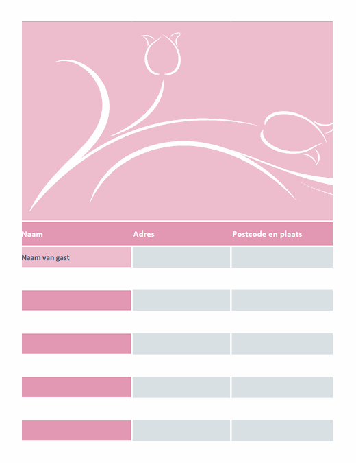 Gastenlijst bruiloft (met tulpen)