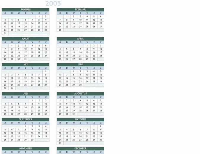 Jaarkalender 2005-2014 (ma-zo)