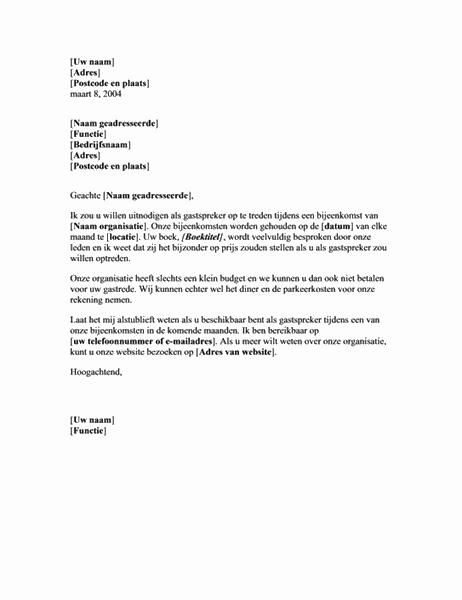 Brief met verzoek om op te treden als onbezoldigd spreker tijdens bijeenkomst