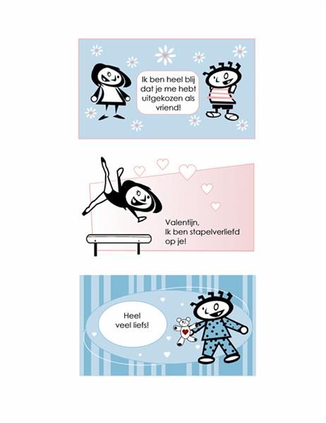 Zelfgemaakte valentijnskaarten voor kinderen (4 pagina's kaartontwerpen en 1 universele achterkant)