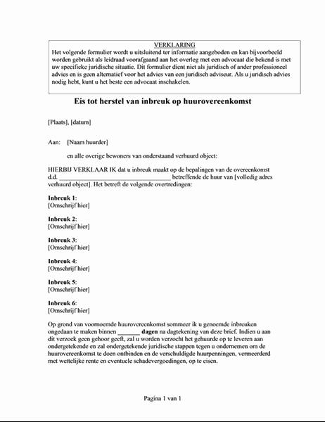 Kennisgeving van schending van de huurovereenkomst (invullen op internet)