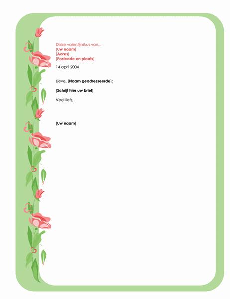 Briefpapier voor valentijnsbrief