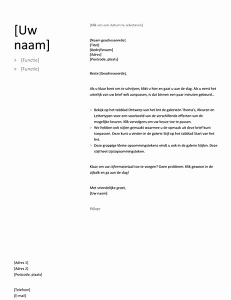 Begeleidende brief voor Chronologisch cv (Eenvoudig ontwerp)