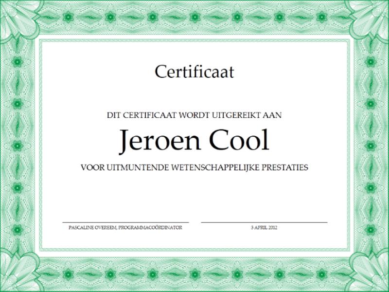 Certificaat voor uitzonderlijke prestaties (met formele groene rand)