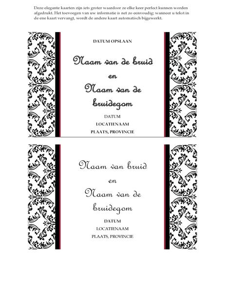 Kaart voor aankondiging huwelijk (ontwerp Zwart-wit voor huwelijk)