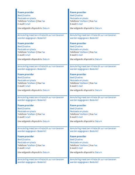 Afspraakkaarten (10 per pagina)