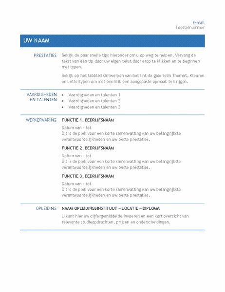 Cv voor interne sollicitatie