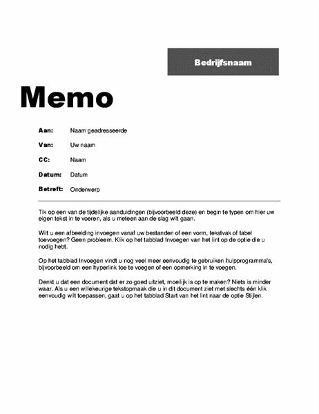 Intern memo (professioneel ontwerp)