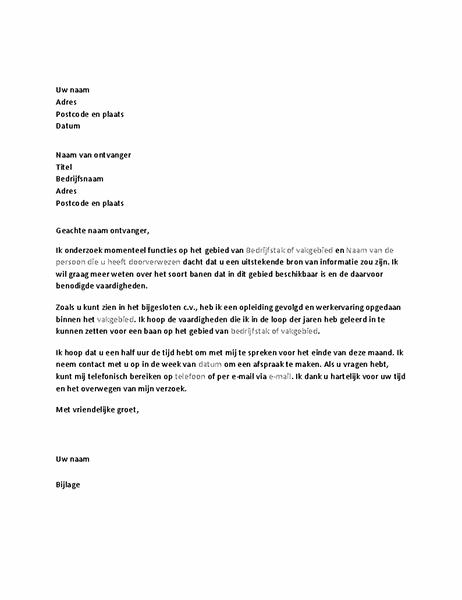 Brief met een verzoek om een informatief gesprek