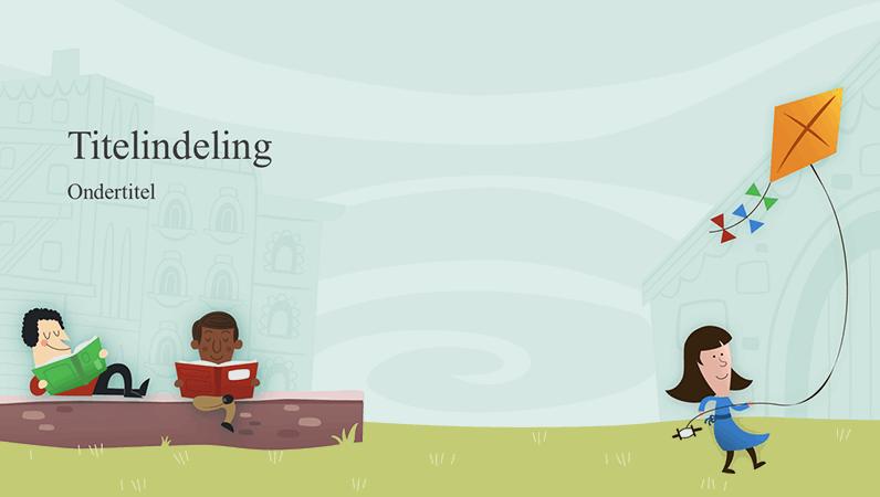 Onderwijspresentatie, ontwerp met kinderen op het schoolplein, album (breedbeeld)
