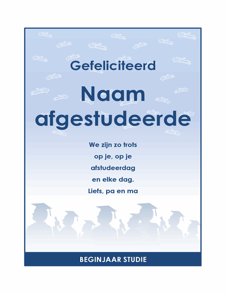 Flyer voor felicitaties van afgestudeerden (ontwerp Eindexamenfeest)