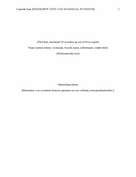 Rapport in APA-stijl (6e editie)