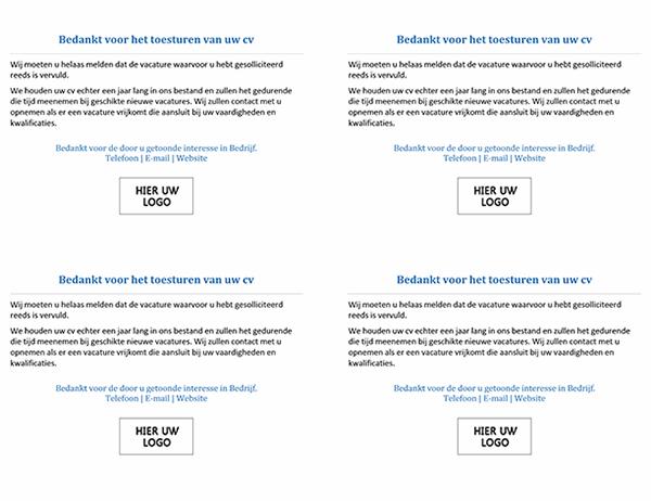 Briefkaart naar sollicitanten wanneer de vacature al vervuld is (4 per pagina)