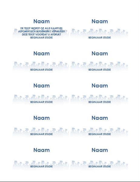 Kaartjes met naam van afgestudeerde (tien per pagina)