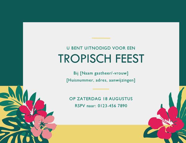 Uitnodiging voor feest (tropisch thema)