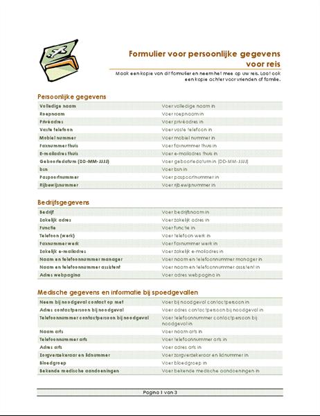 Routebeschrijving en formulier voor persoonlijke gegevens