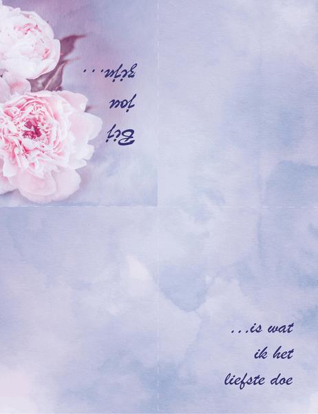 Romantische kaart (met roos, in vieren gevouwen)