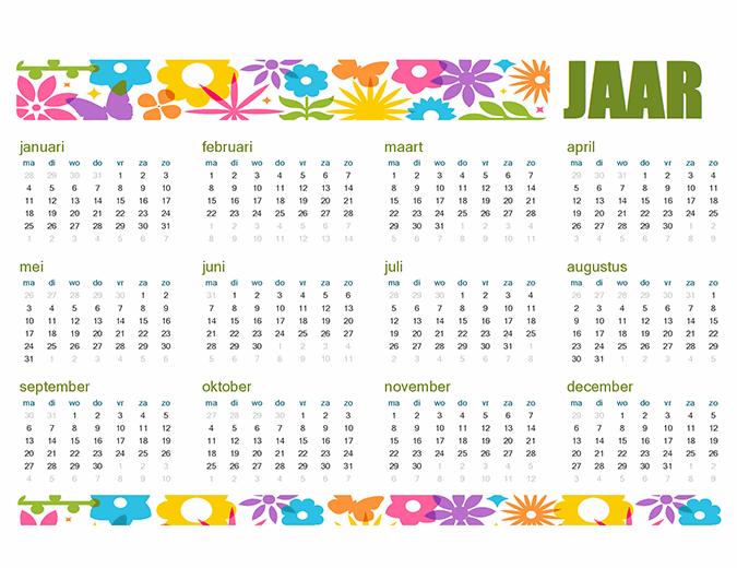 Speelse agenda voor elk jaar