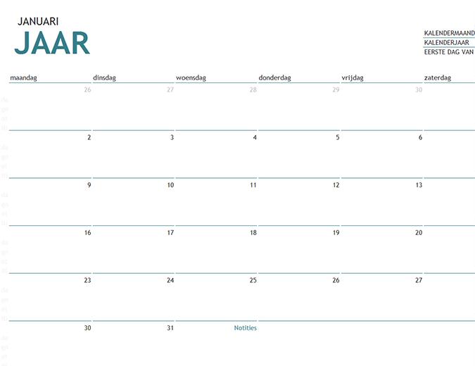 Een kalender van een maand in een willekeurig jaar met notities