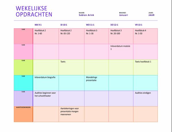 Wekelijkse huiswerkplanning (kleur, liggend)