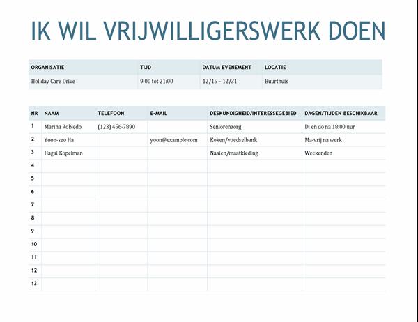 Aanmeldingsformulier voor vrijwilligers