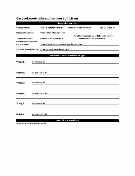 Gespreksnotitieformulier voor sollicitant