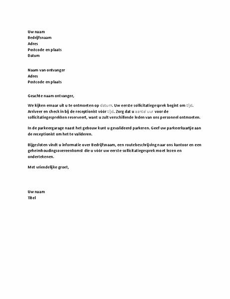 Brief ter bevestiging van een sollicitatiegesprek met een kandidaat