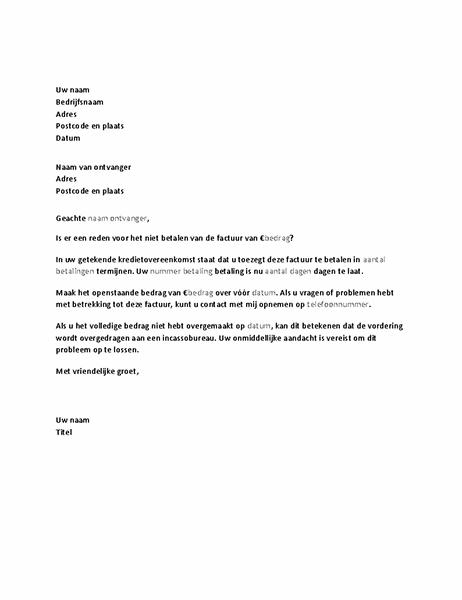 Brief met verzoek om betaling van achterstallige factuur