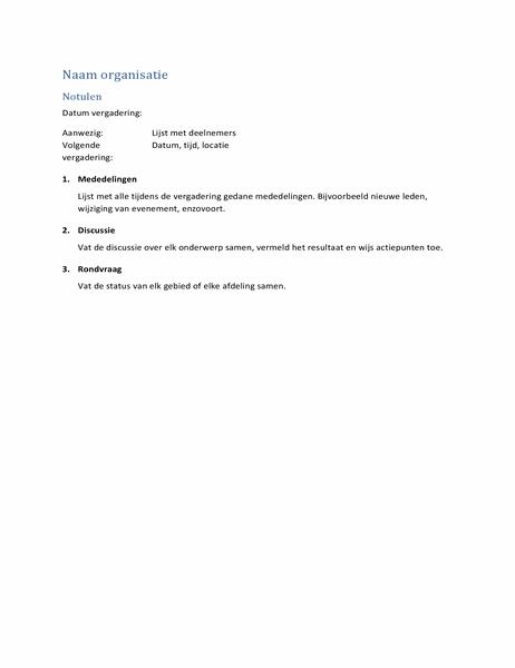 Notulen (kort formulier)