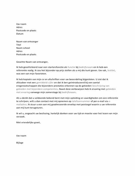 Brief aan leraar met verzoek om referentie bij sollicitatie