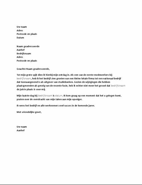 Ontslagbrief vanwege fusie