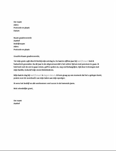 Ontslagbrief vanwege pensionering