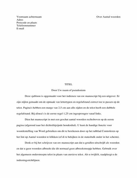 Manuscriptindeling voor verhaal