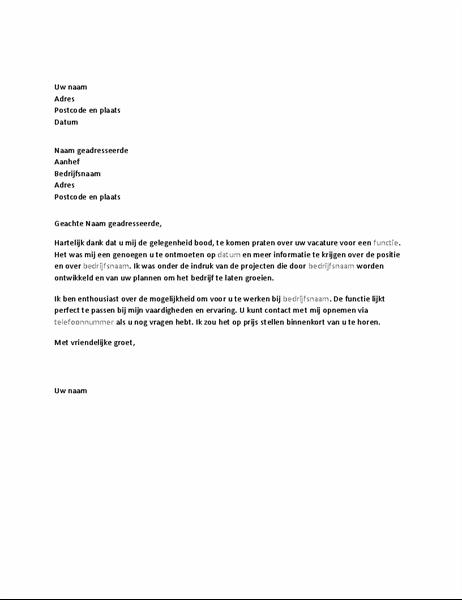 Bedankbrief voor sollicitatiegesprek