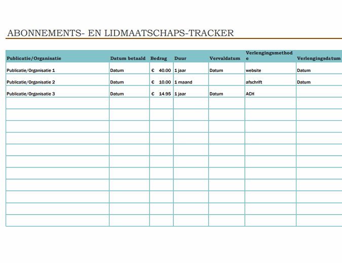 Abonnements- en lidmaatschaps-tracker