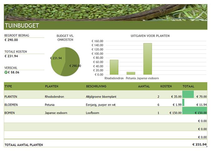 Budget voor tuin en tuinaanleg