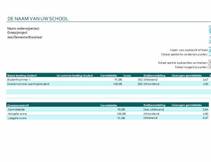 Cijferlijst voor docenten (op basis van punten)