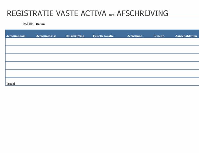 Registratie vaste activa met afschrijving