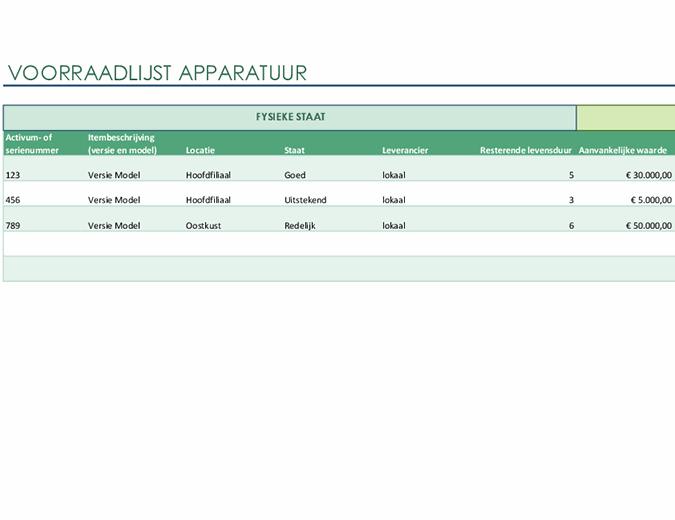 Voorraadlijst apparatuur