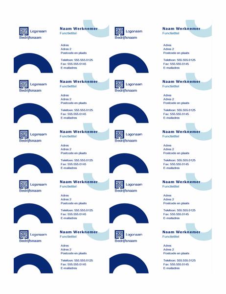 Visitekaartjes (Boog-ontwerp, 10 per pagina)