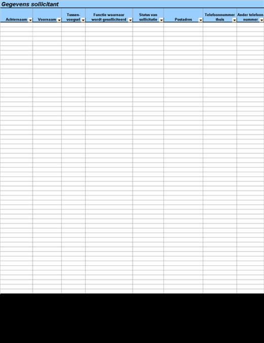 Gegevens en vergelijkingstabel sollicitanten