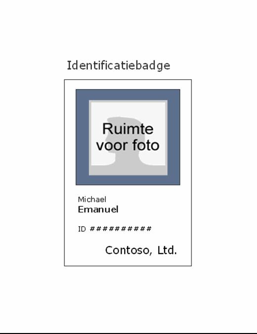 Badge met werknemer-id (staand)