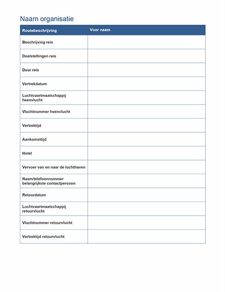 Routebeschrijving voor zakenreis met vergaderschema