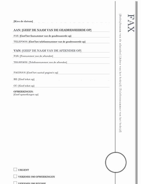 Faxvoorblad (ontwerp Oriel)